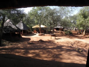 The Shangana market: each hut has a different set of wooden carvings